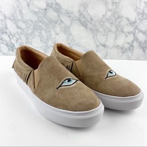 SHEIN Eye Embroidery Slip-On Sneakers Tan Size: 9